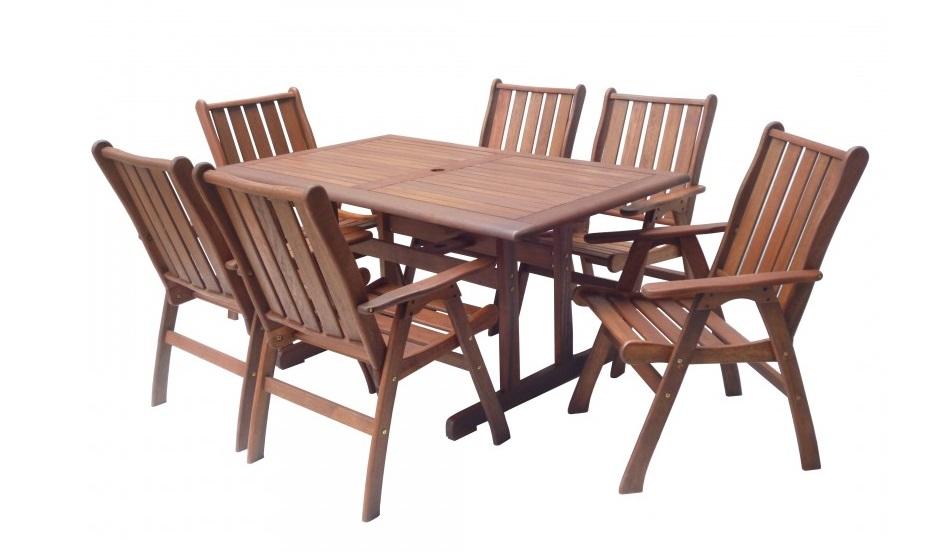 Dřevěný zahradní stůl a židle Lyon
