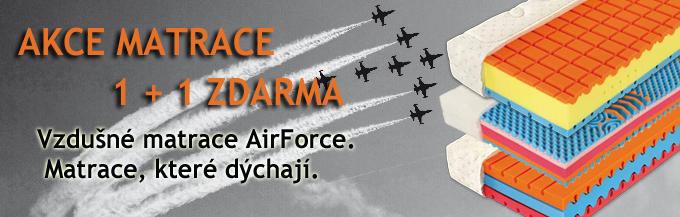 Akce 1 + 1 zdarma. Vzdušné matrace AirForce. Matrace, které dýchají.